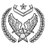 Retro US Air Force Insignia with Wreath. Doodle style military insignia for US Air Force including eagle wings and star Royalty Free Stock Photos