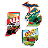Retro US State illustrations Indiana, Ohio, Michig