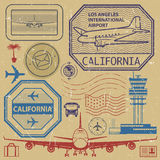Retro USA airport stamps set, Los Angeles, California theme Royalty Free Stock Images