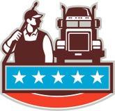 Retro USA för lastbil för tryckpackningsarbetare flagga royaltyfri illustrationer
