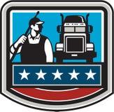 Retro USA för vapen för lastbil för tryckpackningsarbetare flagga vektor illustrationer