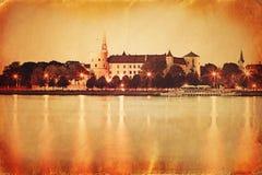 Retro utforma panoramat av gammala Riga Royaltyfri Bild