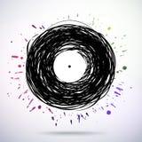 Retro utformad melodidiskett med kulöra färgstänk Royaltyfri Fotografi