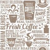Retro utformad sömlös modell för typografisk vektorcoffee shop eller royaltyfri illustrationer