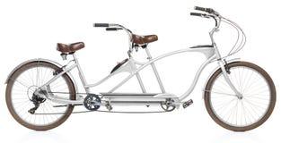 Retro utformad tandem cykel som isoleras på en vit Royaltyfri Foto