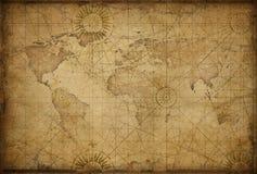 Retro utformad världskarta royaltyfri illustrationer