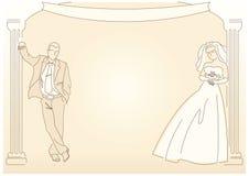 retro utformat bröllop för bakgrund Royaltyfri Bild