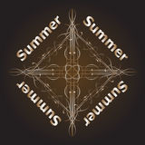 Retro utformat calligraphic designkort för sommar, tappningferie Royaltyfri Bild