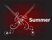 Retro utformat calligraphic designkort för sommar, tappningferie Royaltyfri Foto