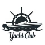 Retro utformat emblem för vektor med yacht- och rodersymbol Emblem för yachtklubba stock illustrationer