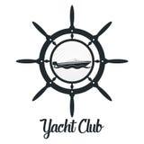Retro utformat emblem för vektor med yacht- och rodersymbol Emblem för yachtklubba royaltyfri illustrationer