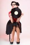 Retro utvikningsbild för flicka för Phonography analogrekord Arkivbilder