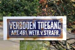 Retro vägmärke: Förnekat tillträde, Nederländerna Royaltyfria Bilder