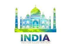 Retro världsunder av Taj Mahal Palace i Indien vektorillustration stock illustrationer