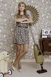 Retro vacuum cleaner woman housewife vintage. Room wallpaper Stock Images