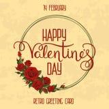 Retro valentin van de groetkaart royalty-vrije illustratie