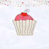 Retro valentine card with cupcake. EPS 8. Vector file included Stock Images