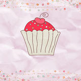 Retro valentine card with cupcake. EPS 8 Royalty Free Stock Photo