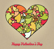 Retro Valentine card made of small hearts Stock Photos