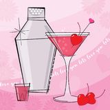 Retro Valentine Cocktail with Shaker, Shots and Lettering vector illustration