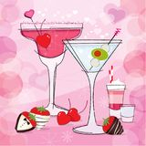 Retro Valentine Cocktails and chocolate covered strawberries stock illustration