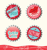 Retro valentine designs. For gift tags, stickers and cards. bottle caps set 2 vector illustration