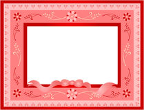 Retro Valentine frame. Valentine illustration of hearts with floral ornaments Stock Image