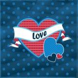 Retro Valentine-hart Stock Afbeelding