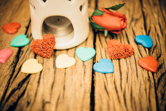 Retro valentine heart on old wood background. Royalty Free Stock Images