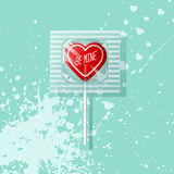Retro Valentine heart shaped wrapped lollipop Royalty Free Stock Image