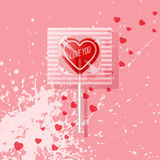 Retro Valentine heart shaped wrapped lollipop Stock Images