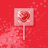 Retro Valentine heart shaped wrapped lollipop. Valentine heart shaped lollipop on aqua background. Retro candy design with text, sweetie Royalty Free Stock Photo