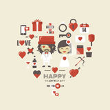 Retro valentine icon Royalty Free Stock Images