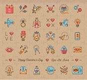Retro Valentine Icon, simboli d'annata di amore, linea piana assottiglia lo stile illustrazione vettoriale