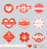 Retro Valentine Labels and Stickers stock illustration