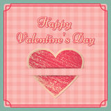 Retro Valentine`s Day background. Vector illustration. Vintage Valentine`s Day background. Retro design on pink checkered backdrop. Country style. Vector Royalty Free Stock Photo