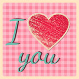 Retro Valentine`s Day card – I love you. Vector illustration. Royalty Free Stock Photo