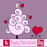 Retro Valentine s Day Card [1]. St. Valentines or Saint Valentine s Day card with a retro tree of love with swirls and hearts. Empty space for your message. Eps Royalty Free Stock Image