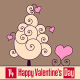 Retro Valentine s Day Card [2]. St. Valentines or Saint Valentine s Day card with a retro tree of love with swirls and hearts. Empty space for your message. Eps Royalty Free Stock Image