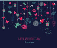 Retro Valentine`s day greeting card Royalty Free Stock Photography