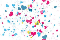 Retro valentine seamless pattern with hearts. Royalty Free Stock Photos