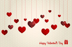 Retro Valentines card with abstract hearts Royalty Free Stock Photography