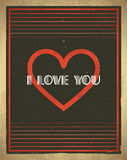 Retro Valentines Day card. With heart shape Stock Illustration