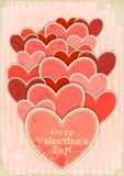 Retro Valentines Day Card with Hearts Stock Images