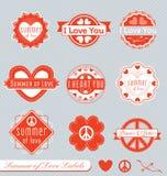 Retro valentinetiketter och klistermärkear stock illustrationer