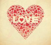 Retro valentinkort. Vektorillustration Arkivfoto
