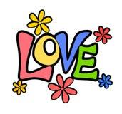 Retro- Valentinsgruß-Liebe blüht Zeichen oder Fahne stock abbildung