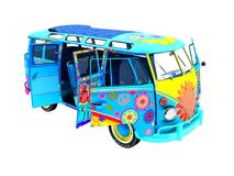 Retro van blue in the schedule for trips to the beach outdoor 3d rendering not white background no shadow vector illustration