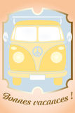 Retro van. Card illustration with French text for happy holidays - available as vector-eps and jpg file stock illustration