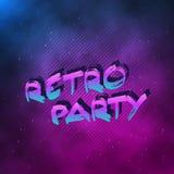 1980 Retro van de de Affiche Retro Disco van het Partijneon binnen gemaakte de jaren '80achtergrond Stock Afbeeldingen